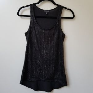 Express Sequin Shimmer Mesh Front Knit Tank